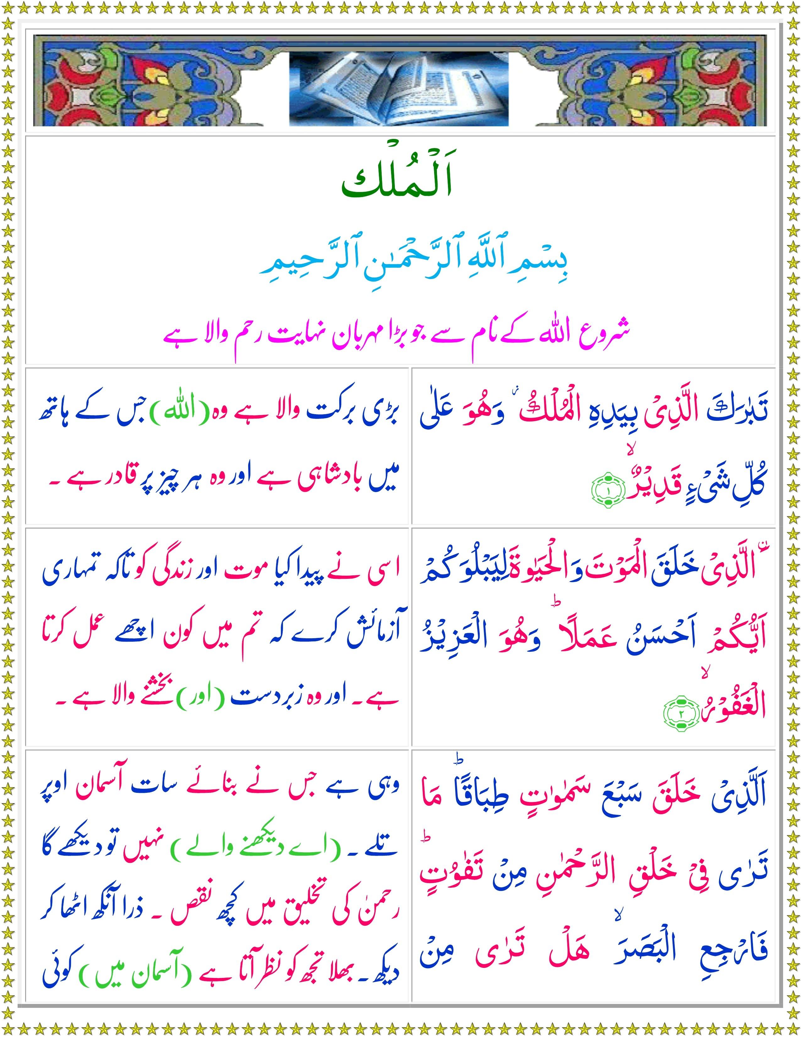 Surah Mulk Arabic Text Pdf